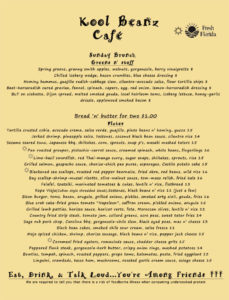 kool beanz suday brunch menu