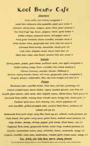 kool beanz dinner menu 3
